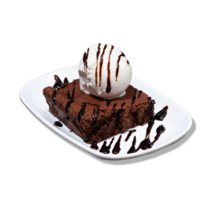 Brownie with vanilla ice-cream